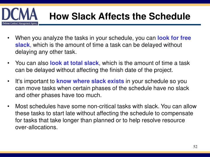 How Slack Affects the Schedule