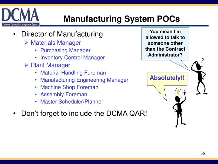 Manufacturing System POCs