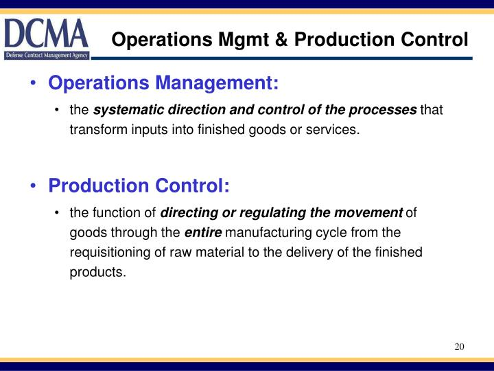 Operations Mgmt & Production Control