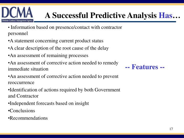 A Successful Predictive Analysis