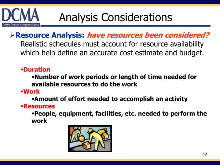 Analysis Considerations