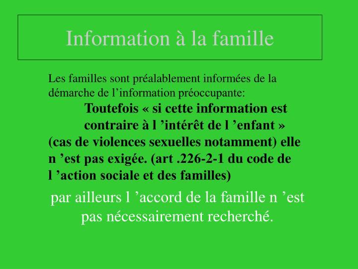 Information à la famille