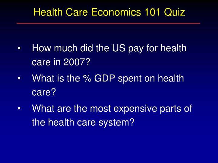 Health Care Economics 101 Quiz