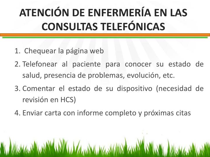 ATENCIÓN DE ENFERMERÍA EN LAS CONSULTAS TELEFÓNICAS