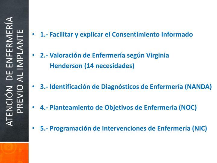 1.- Facilitar y explicar el Consentimiento Informado