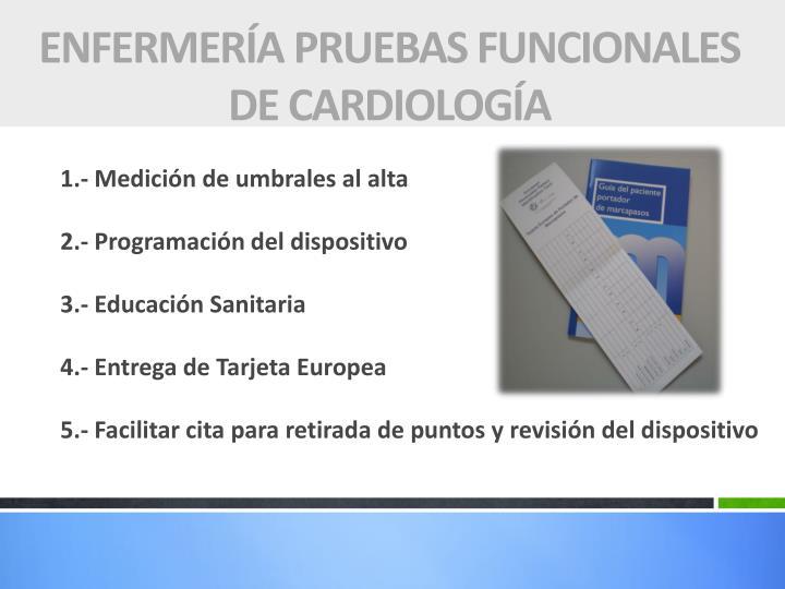ENFERMERÍA PRUEBAS FUNCIONALES DE CARDIOLOGÍA