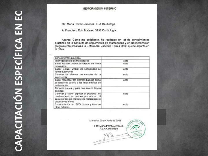 CAPACITACIÓN ESPECÍFICA EN EC