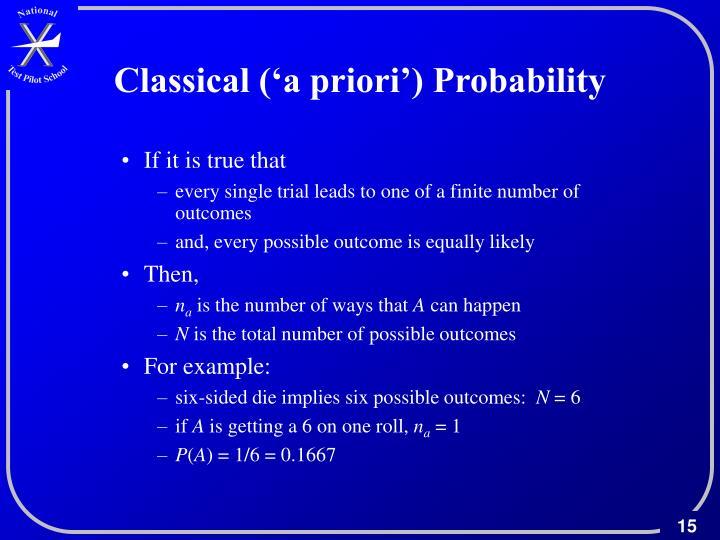 Classical ('a priori') Probability
