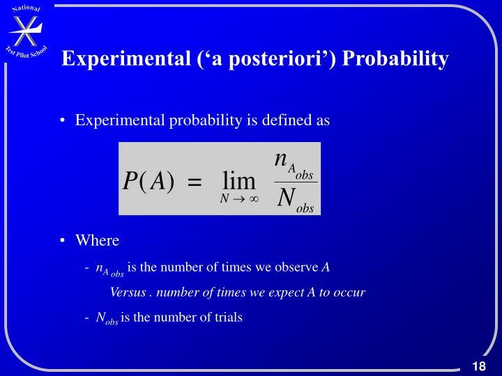 Experimental ('a posteriori') Probability