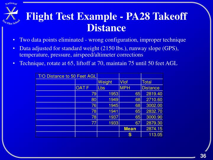 Flight Test Example - PA28 Takeoff Distance