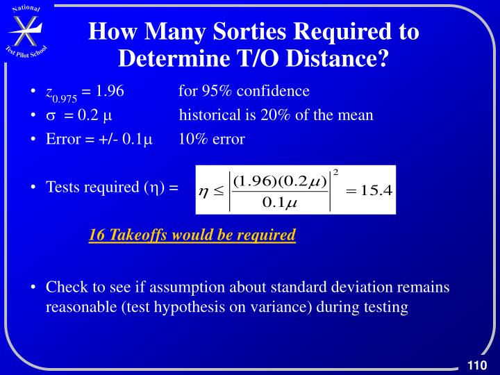 How Many Sorties Required to Determine T/O Distance?