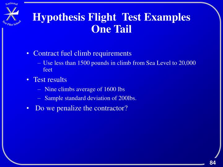 Hypothesis Flight  Test Examples One Tail