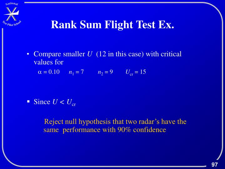 Rank Sum Flight Test Ex.