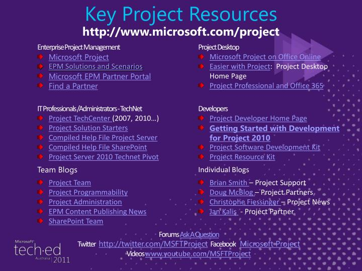 Key Project Resources