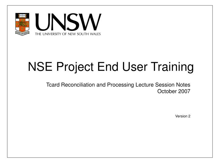 nse project end user training