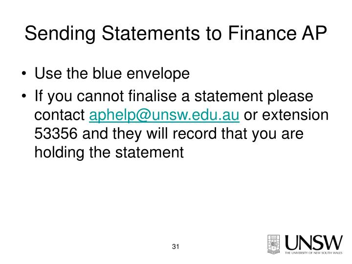 Sending Statements to Finance AP