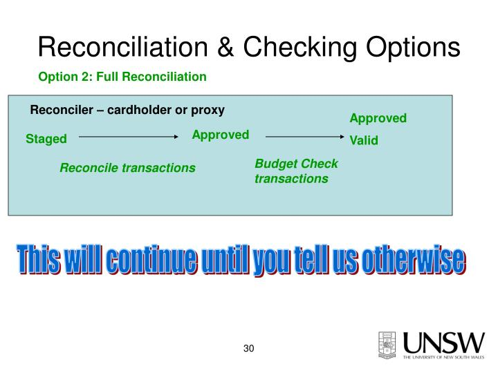 Reconciliation & Checking Options