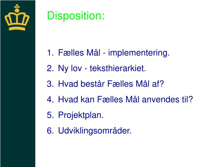Disposition: