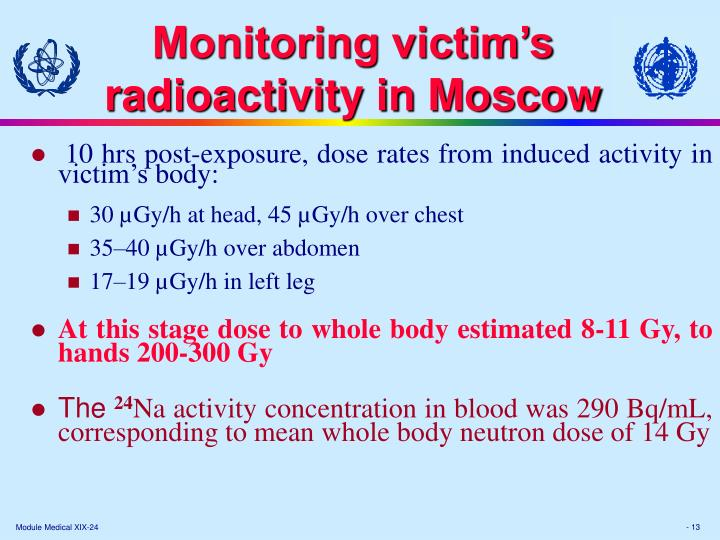 Monitoring victim's radioactivity in Moscow