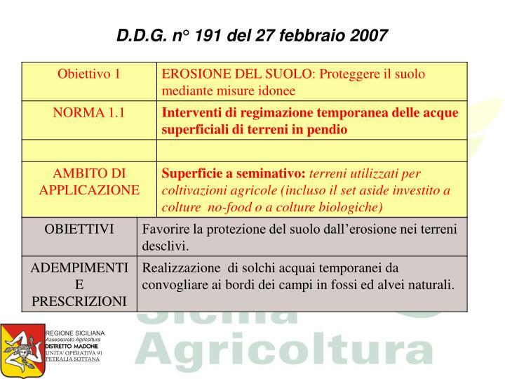 D.D.G. n° 191 del 27 febbraio 2007