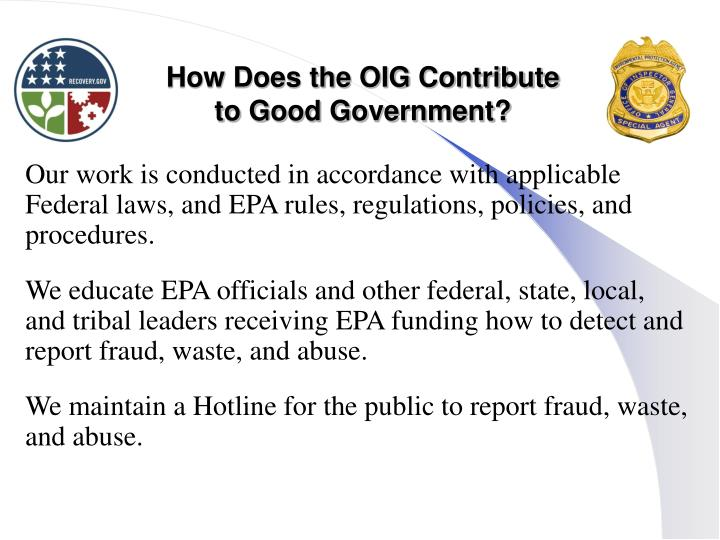 How Does the OIG Contribute