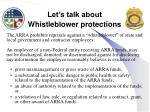let s talk about whistleblower protections