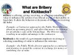 what are bribery and kickbacks