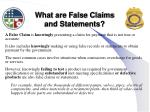 what are false claims and statements