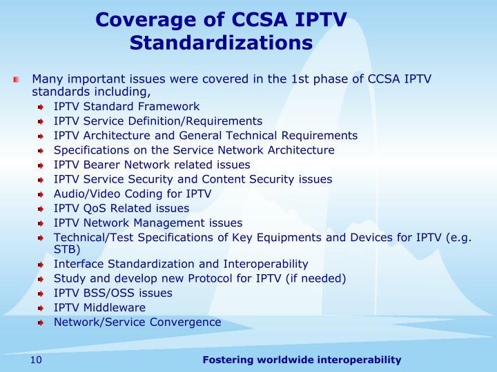 Coverage of CCSA IPTV Standardizations