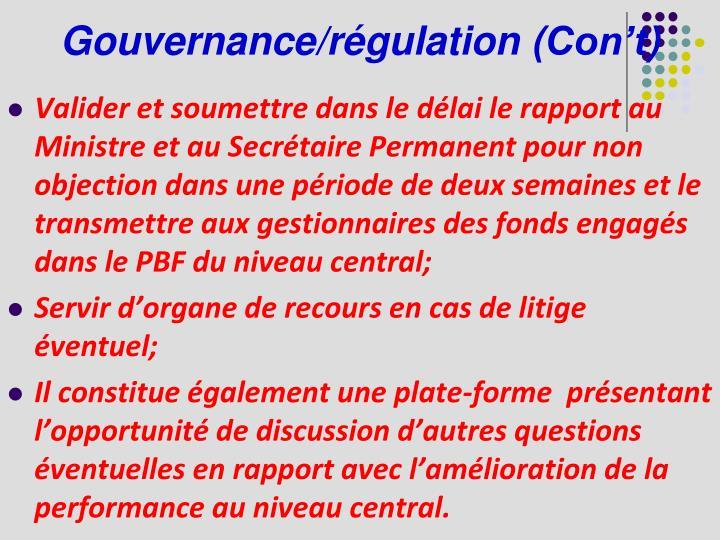 Gouvernance/régulation (