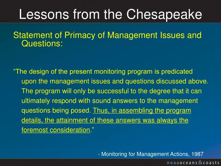 Lessons from the Chesapeake