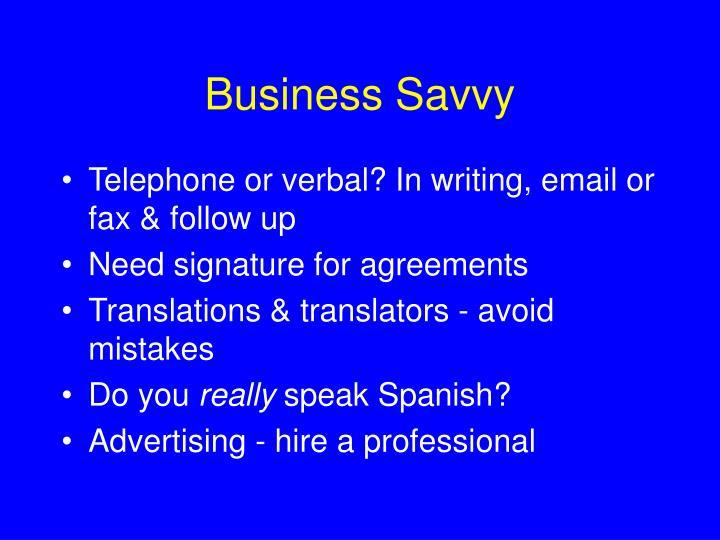 Business Savvy