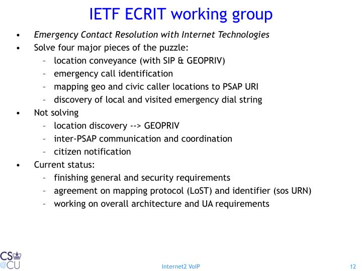IETF ECRIT working group
