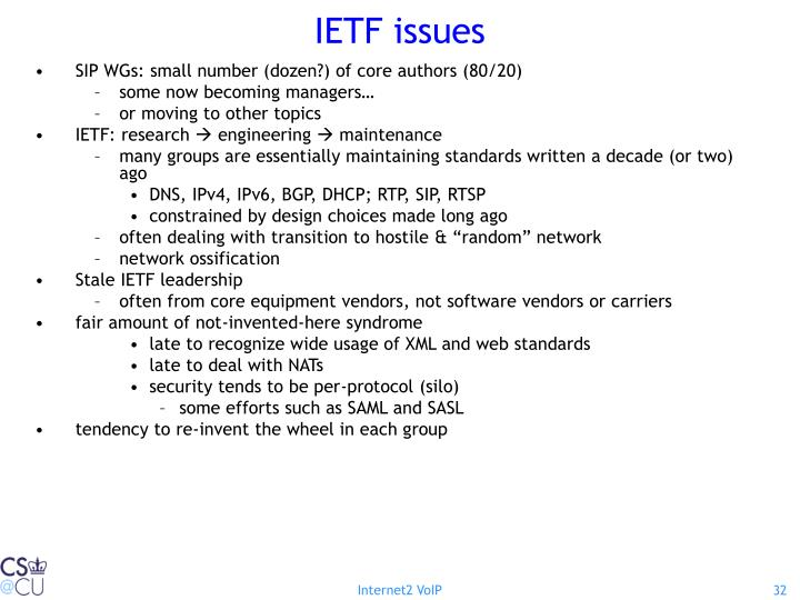 IETF issues