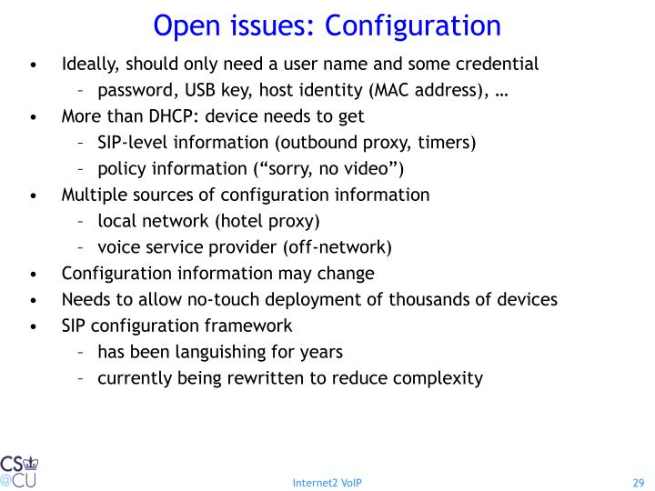 Open issues: Configuration