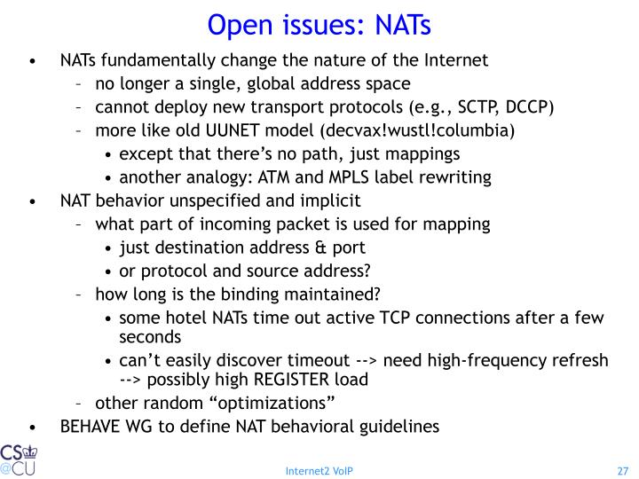 Open issues: NATs