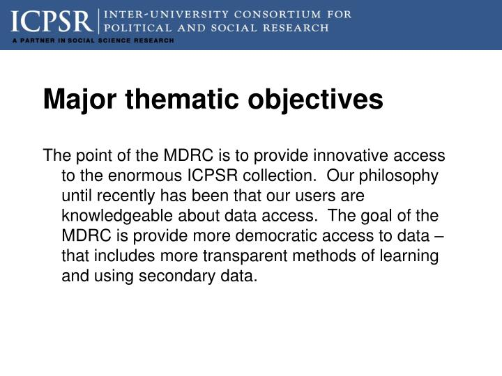Major thematic objectives