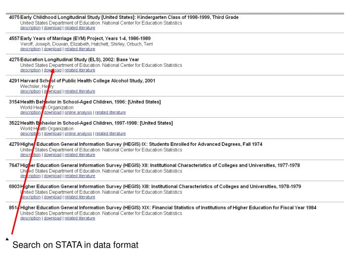 Search on STATA in data format
