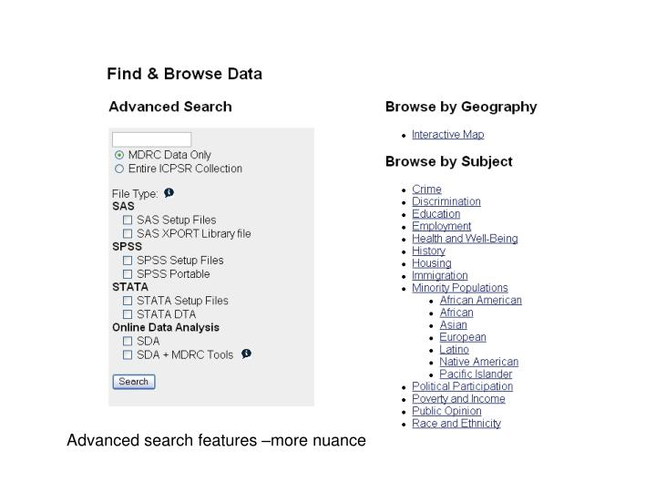 Advanced search features –more nuance