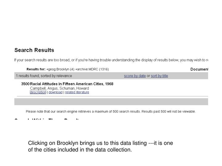 Clicking on Brooklyn brings us to this data listing ---it is one of the cities included in the data collection.