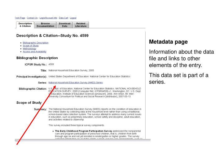 Metadata page