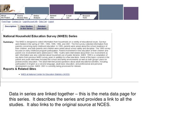 Data in series are linked together – this is the meta data page for this series.  It describes the series and provides a link to all the studies.  It also links to the original source at NCES.
