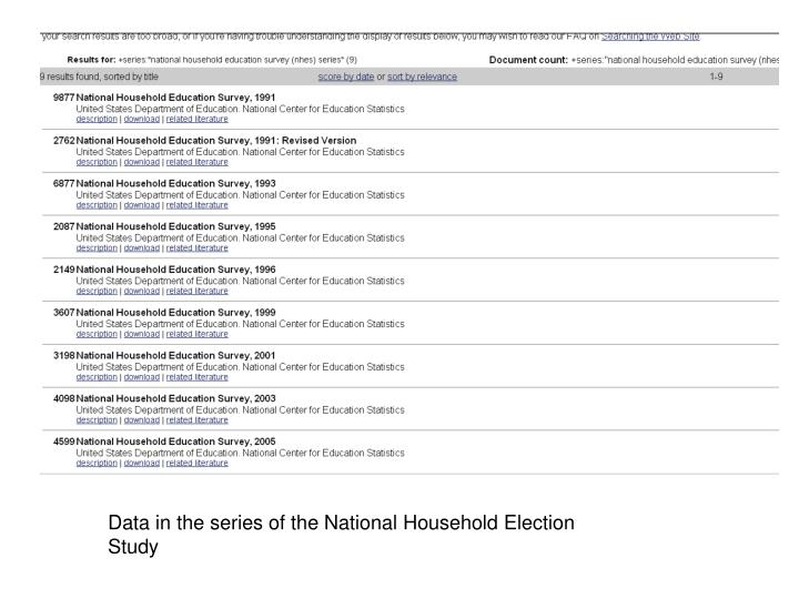 Data in the series of the National Household Election Study