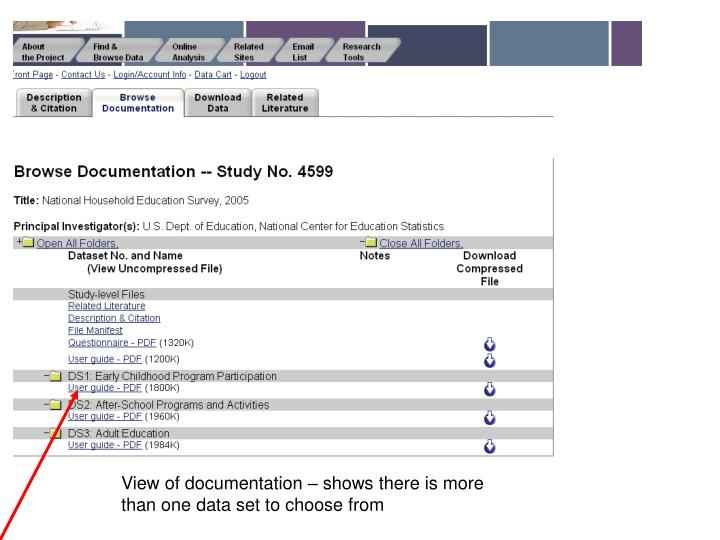 View of documentation – shows there is more than one data set to choose from