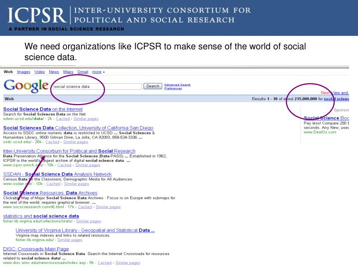 We need organizations like ICPSR to make sense of the world of social science data.