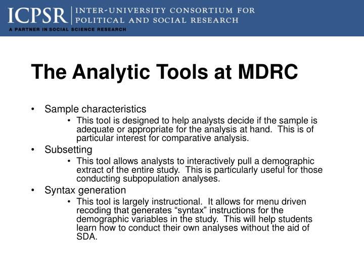 The Analytic Tools at MDRC