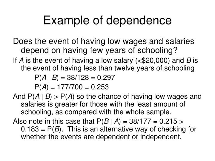 Example of dependence