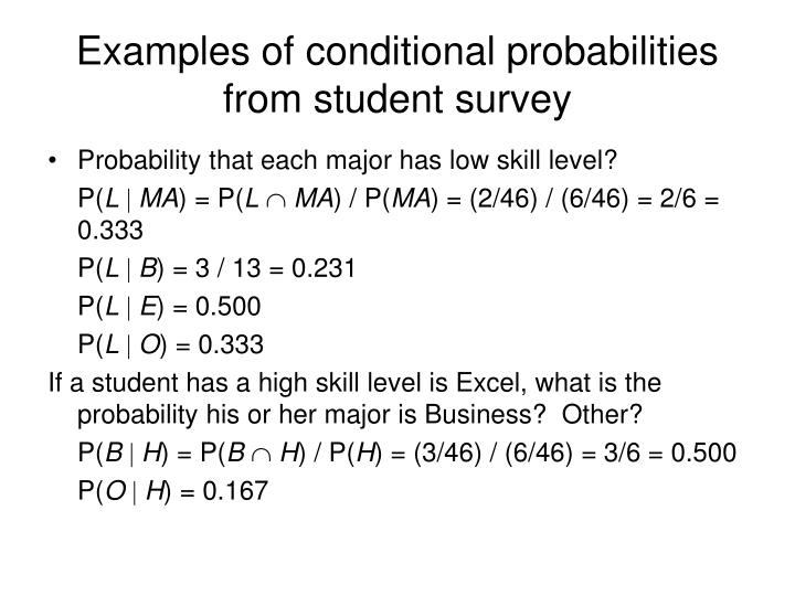 Examples of conditional probabilities from student survey