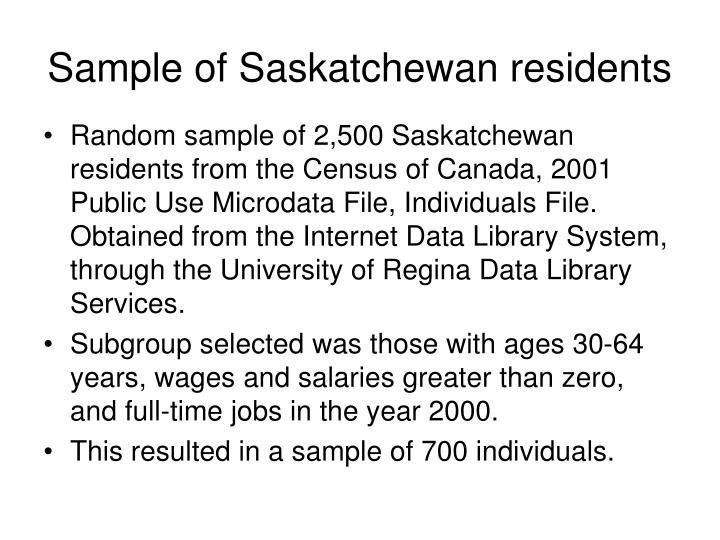 Sample of Saskatchewan residents