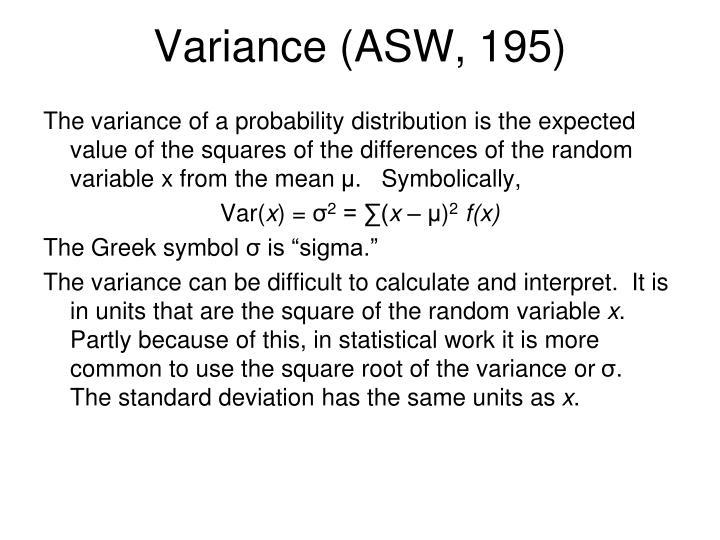 Variance (ASW, 195)